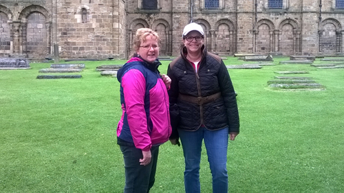Carrie and Lesley outside Durham Cathedral