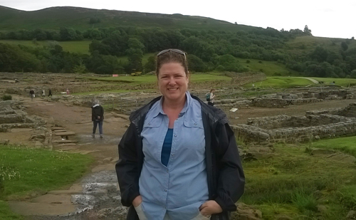 Elizabeth at the top of the street in Vindolanda