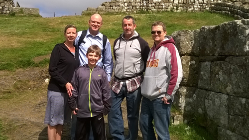 Mary, Steve and Alex from Arizona and Travis and Mark from Hawaii at Milecastle 42