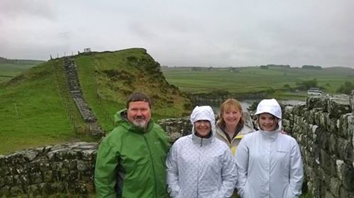 Ray, Elizabeth, Joyce and Emma from Seattle in the dramatic setting of Milecastle 42 at Cawfields