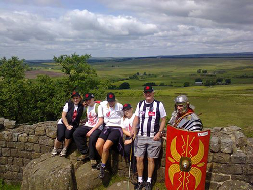Walltown Crags. Craig walked the whole length of the Wall dressed as a Roman legionary. He raised thousands of Aussie dollars for charity and showed the strength of willpower. Other members of the family came too. Pamela, Troy, Natalie, Bridgett, and Kevin all from Melbourne. True grit.